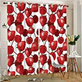 AmaParkhome Window Room Grommet Curtain Drapes Red Strawberries Cherries Fruits for and Picnic Image Burgundy and Set of 2 Panels(2 Panels, 54″ x 84″) For Sale