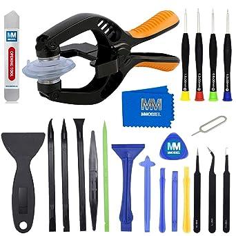 MMOBIEL Kit de apertura y reparación 24 en 1 con pinzas, destornilladores, spudger, compatible con smartphone y tablets