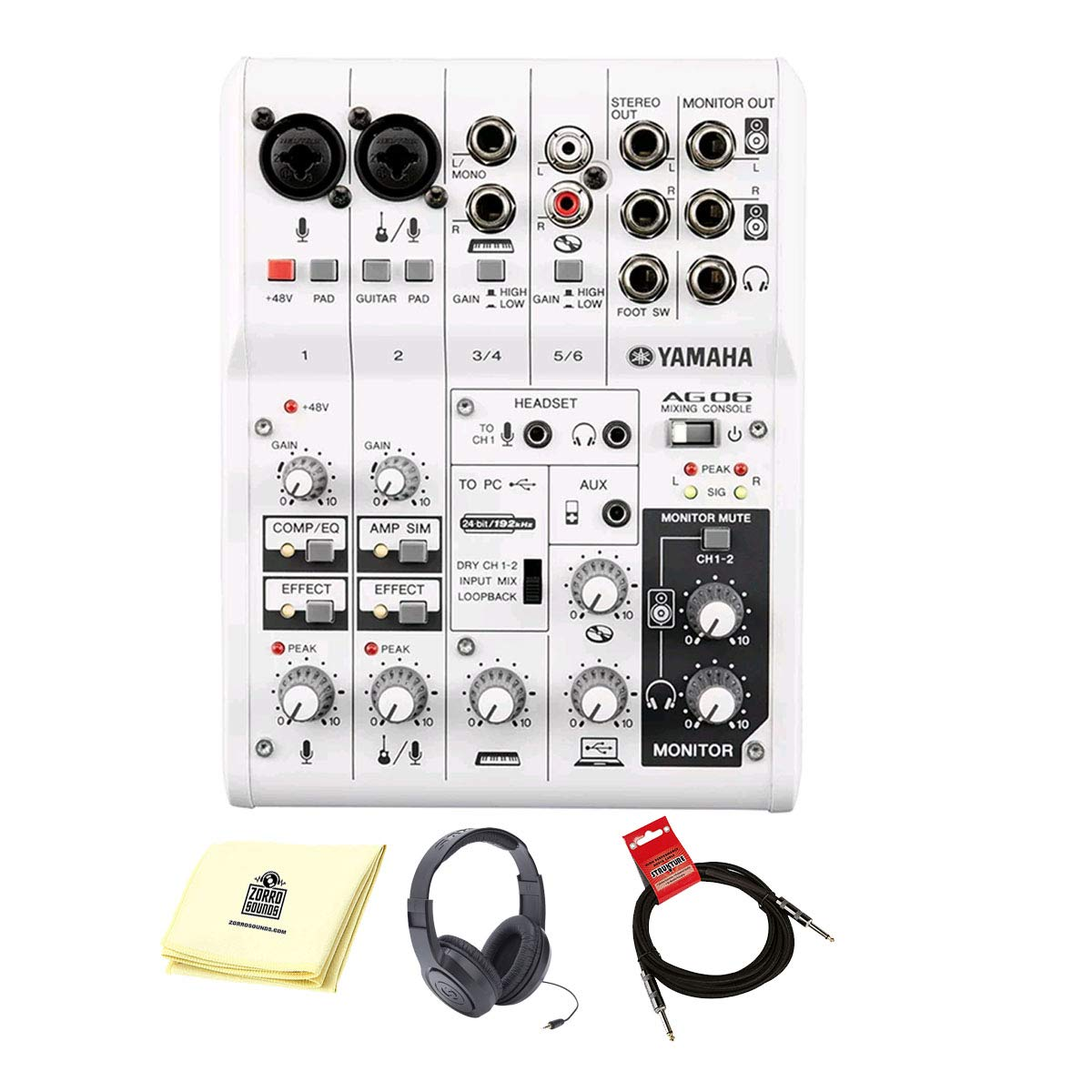 Yamaha AG06 6-Channel Mixer/Interface with Headset, Cable, and Polishing Cloth