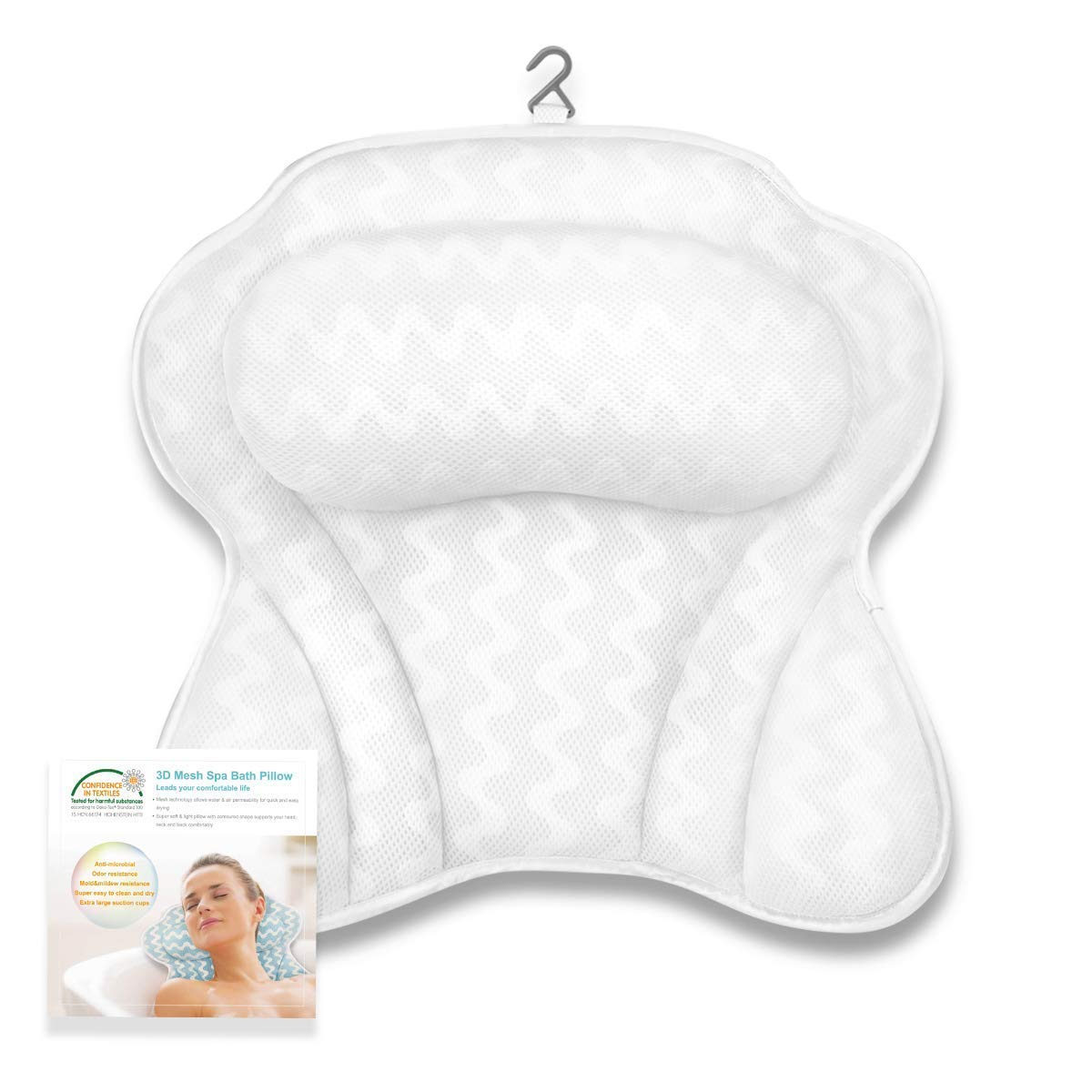 Luxury Bath Pillow with 6 Strong Suction Cups for Tub, Extra Large Size Pillow Bath Cushion for Bathtub, Hot Tub, Jacuzzi, Home Spa Pillow Support for Head, Neck, Back and Shoulders