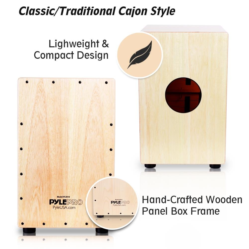 Pyle String Cajon Wooden Percussion Box With Internal Guitar Strings Full Size