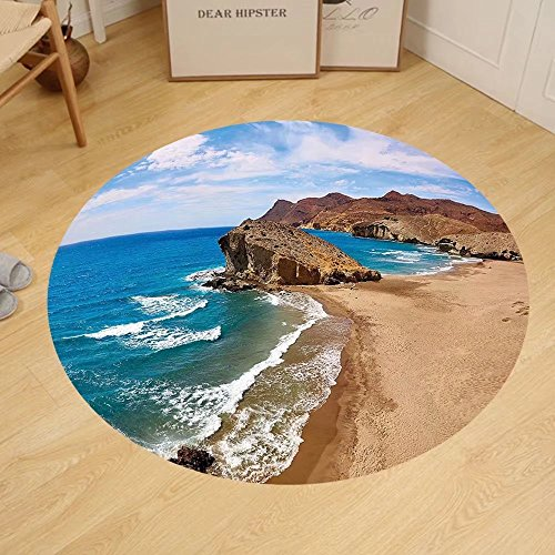 Gzhihine Custom round floor mat Landscape Ocean View Tranquil Beach Cabo De Gata Spain Coastal Photo Scenic Summer Scenery Bedroom Living Room Dorm Blue Brown by Gzhihine