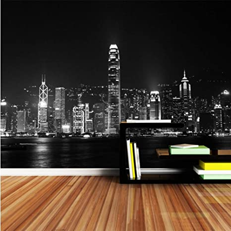 Amazoncom Xbwy Black And White Night City Wallpaper Murals