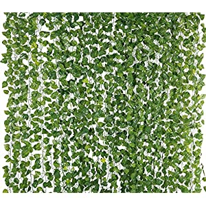 Yatim 78-Ft 12 Pack Silk Artificial Ivy Vines Leaf Garland Plants Hanging Wedding Garland Fake Foliage Flowers Home Kitchen Garden Office Wedding Wall Decor 1