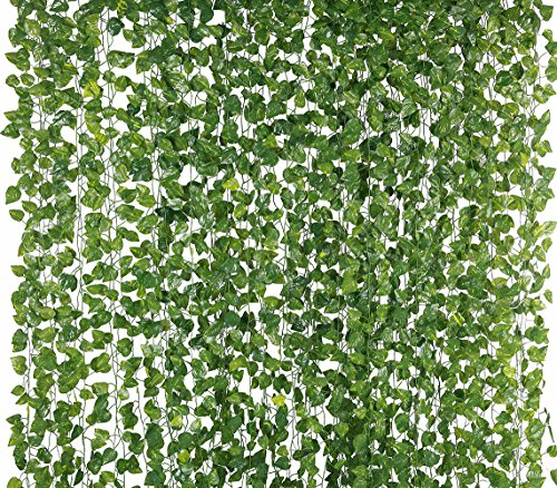 Yatim 78-Ft 12 Pack Silk Artificial Ivy Vines Leaf Garland Plants Hanging Wedding Garland Fake Foliage Flowers Home Kitchen Garden Office Wedding Wall -