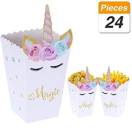 YANGTE 24 Pezzi Scatole di Snack per Popcorn Arcobaleno Modello di Unicorno Scatole per Popcorn per Baby Shower Forniture per Feste di Compleanno