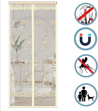 LHXFAN Mosquitera Puerta Magnetica Corredera Cortina 100X200CM Automático Mosquitera Magnética para Puertas Cortina de Sala de Estar la Puerta del Balcón Puerta Corredera de Patio - Bordado beige: Amazon.es: Bricolaje y herramientas