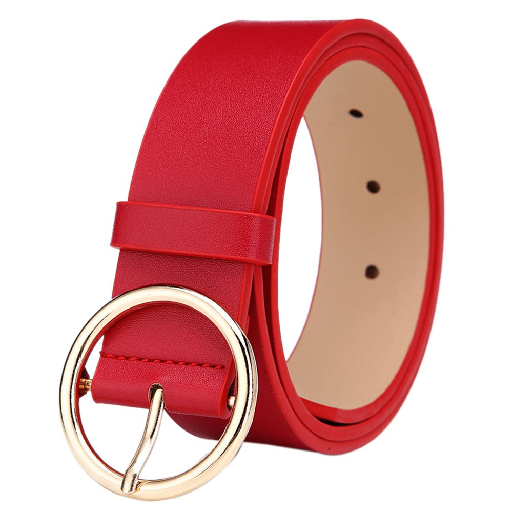 Women's Casual PU Leather Belt Solid Color Jean Wide Belts with Zinc Alloy Buckle XY-20170829-CLO88