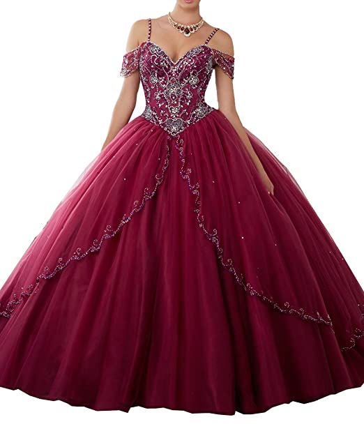 Amazon.com: MCandy Women Off Shoulder Sweetheart Girls 16 Pageant Spaghetti Ball Quinceanera Dress: Clothing