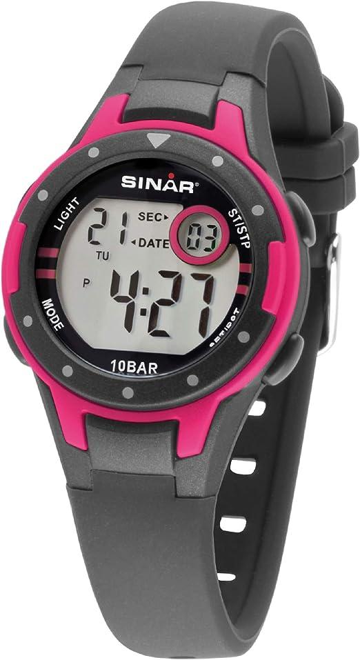 Sinar XE-52-8 - Reloj de pulsera para niña, color gris y rosa, para exteriores, sumergible a 10 bar, luz digital: Amazon.es: Relojes