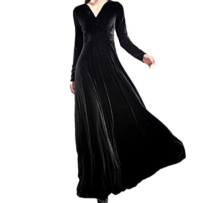 Innermost Women Long Dress,long sleeve V-neck Velvet Dress Formal Evening Party Dress