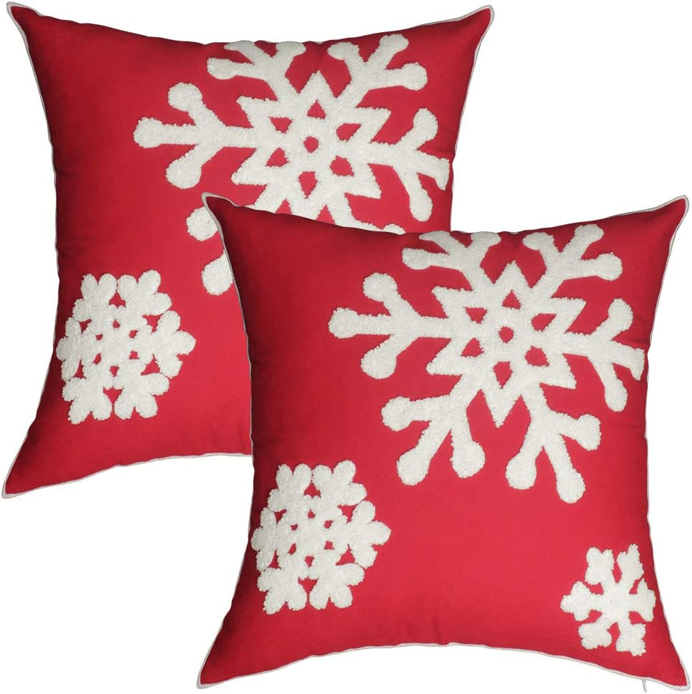 Aboufunny Red Christmas Pillow Covers,Snowflake Outdoor Pillow Shell,Accent Embroidered Cushion Covers Decor for Home,Patio,Livingroom,Couch,18x18 Inch,2 Pack