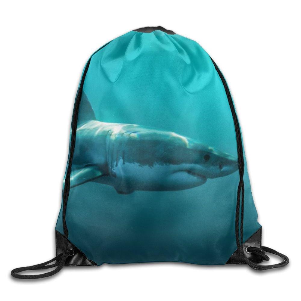 Shark Drawstring Backpack Rucksack Shoulder Bags Training Gym Sack For Man And Women