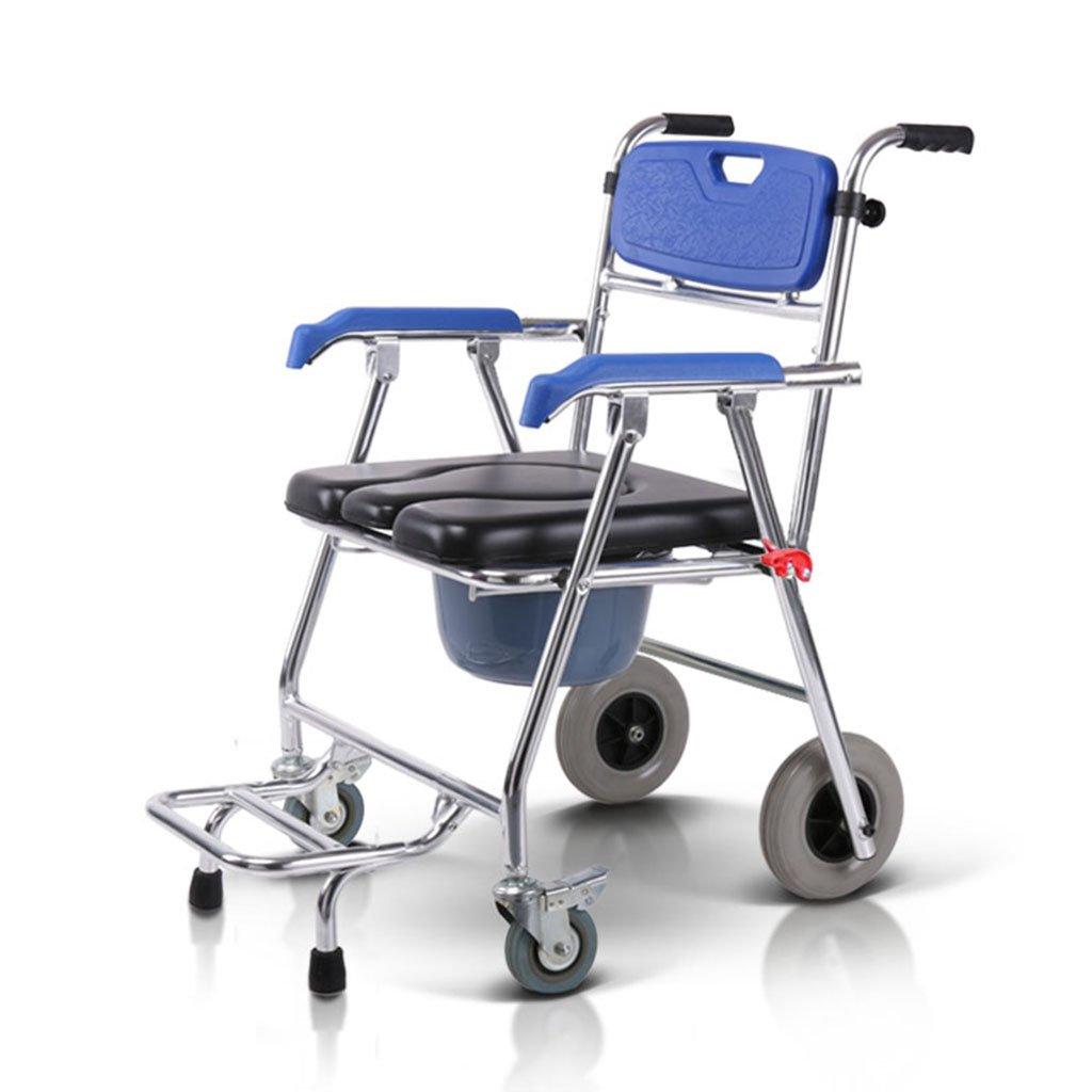 トイレの椅子、折りたたみ式のプーリーのデザインそれはバスルームを移動することができます老人妊娠中の女性シャワーチェア B078RFZ8R6