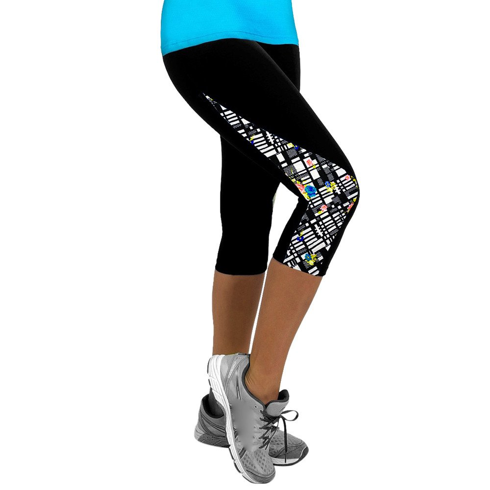 HTDBKDBK High Waist Yoga Pants, Women Ladies Floral Sports Yoga Fitness Leggings Gym 3/4 Slim Cropped Pants