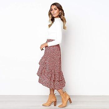 Lopbinte Falda Midi De Lunares De Moda Para Mujer Falda Larga De ...