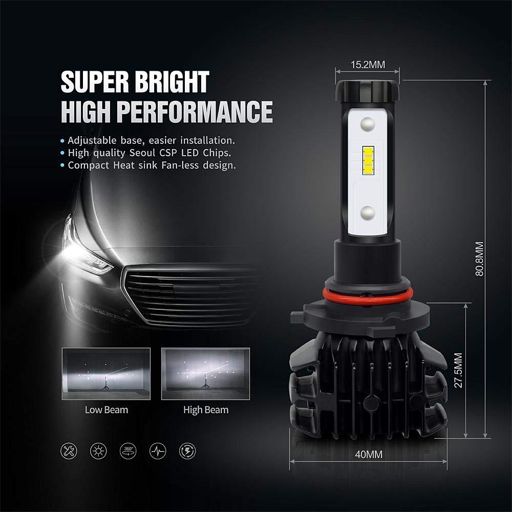 SiriusLED 9005 LED Fanless Headlight Bulb High beam CSP Chip Compact design 6000k White Conversion Kit pack of 2