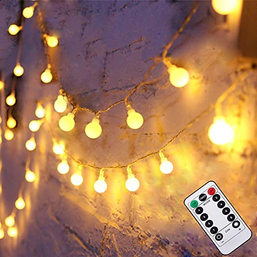 50Leds 16FT 5M Battery Operated Warm White String Lights Globe String Lights for Indoor /& Outdoor Holiday Wedding Party Christmas Decoration LED Fairy String Lights Remote /& Timer