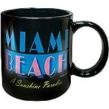 Mug Miami Beach Black Ceramic Coffee and Tea Mug 11 oz - Miami Vintage Souvenir Coffee Mug