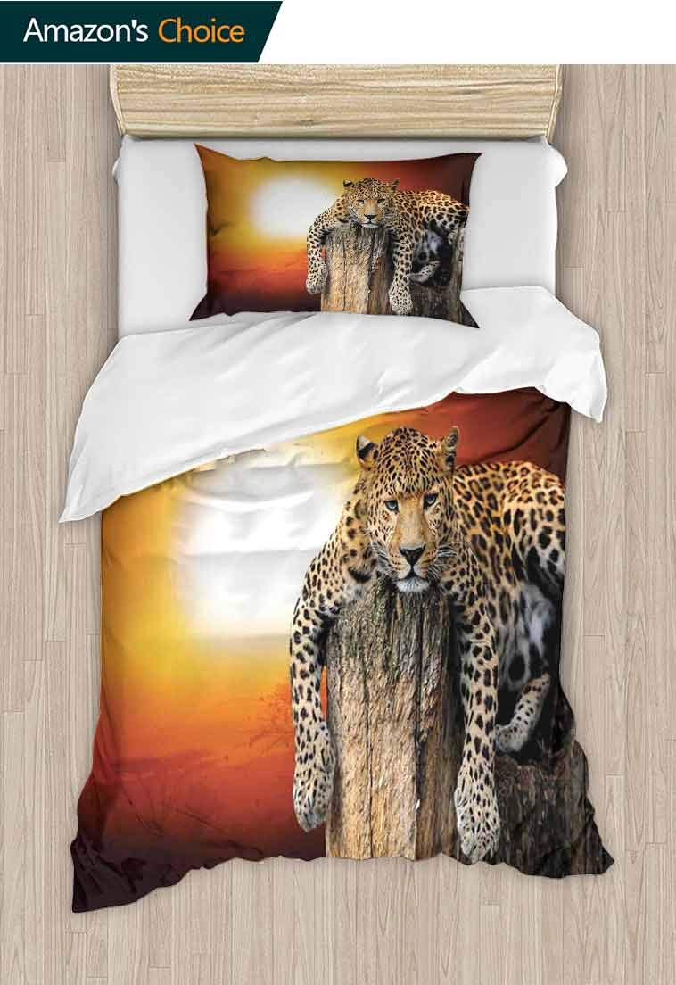 Safari Decor DIY Duvet Cover and Pillowcase Set, Leopard Sitting on Dry Tree at Sunset Danger in th, 2 Piece Bedding Quilt Coverlets - 100% Cotton Bed Quilts Coverlet, 79 W x 90 L Inches Orange Brown