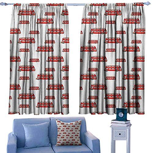 GAAGS Rod Pocket Drapes and Curtain,London Funny Cute Kids Boys Toy Double Decker Bus Transportation Cartoon,Energy Efficient, Room Darkening,W55x39L Inches Vermilion Pale Blue -
