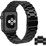 Simpeak Compatible for Apple Watch Band 42mm 44mm, Adjustment Stainless Steel Band for 42mm 44mm iWatch Series 4 3 2 1, with Tool and 2pcs Links, Bright Black for Men/Women