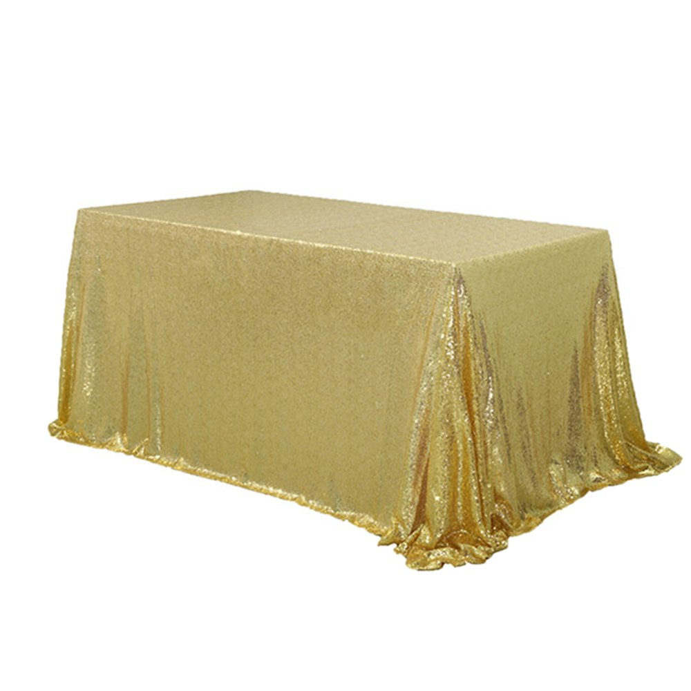 TRLYC 8FT 90''x156'' Sparkly Gold Rectangular Sequins Wedding Tablecloth Sparkly Table Cloth