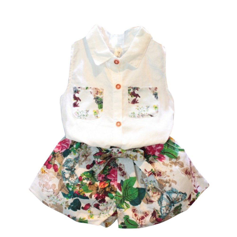 Loveble White Blouses for Girls Cute Fashion Floral Print + Shorts for 3-8 Years