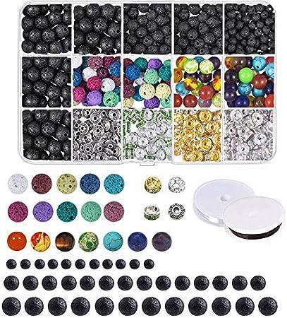 LQKYWNA 8mm Piedra Natural Haciendo Kit Lava La Piedra Preciosa Irregular Curación De Cristal DIY para La Fabricación De La Joyería del Anillo De La Pulsera del Collar