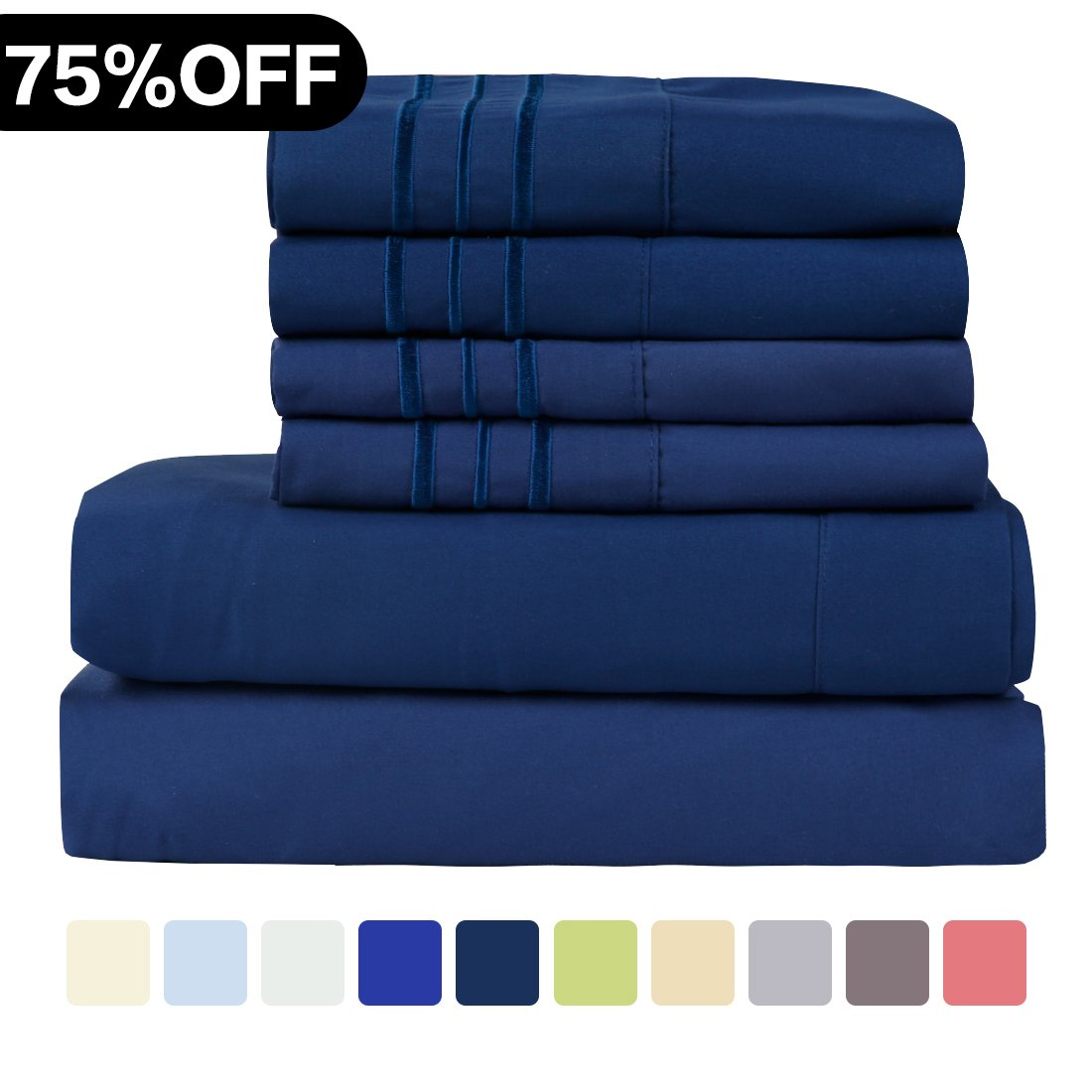 WARM HARBOR Microfiber Sheet Set Super Soft 1800 Thread Count Deep Pocket Bed Sheets Wrinkle, Fade, Stain Resistant Hypoallergenic -4 Piece(Navy, Twin XL)