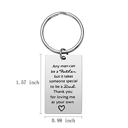 Step Dad Keychain Gift - Fathers Day Gifts from Daughter Son, Birthday Gift for Step Dad, Stainless Steel, Thank You for Being The Dad You Didnt ...