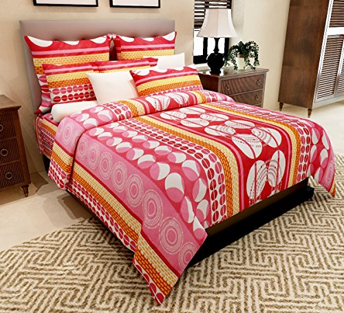 Home Candy 144 TC Floral Cotton Kids Double Bedsheet with 2 Pillow Covers – Red (CTN-BST-320).
