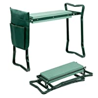 Folding Garden Kneeler and Seat Set with Kneeling Pad and Tool Pouch for Gardening