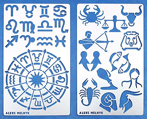 - Aleks Melnyk 29 Bullet Journal Stencil Metal/Zodiac Signs, Astrology/Stainless Steel Planner Set Stencils Journal/Notebook/Diary/Bujo/Scrapbooking/Crafting/DIY Drawing Template Stencil