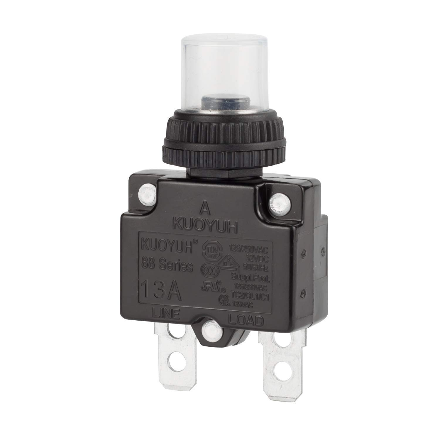DIYhz 13Amp Circuit Breakers Thermal Overload Switch Protector 88 Series Manual Push Button Reset with Quick Connect Terminals and Waterproof Button Cap 32VDC or 125//250VAC 4PCS