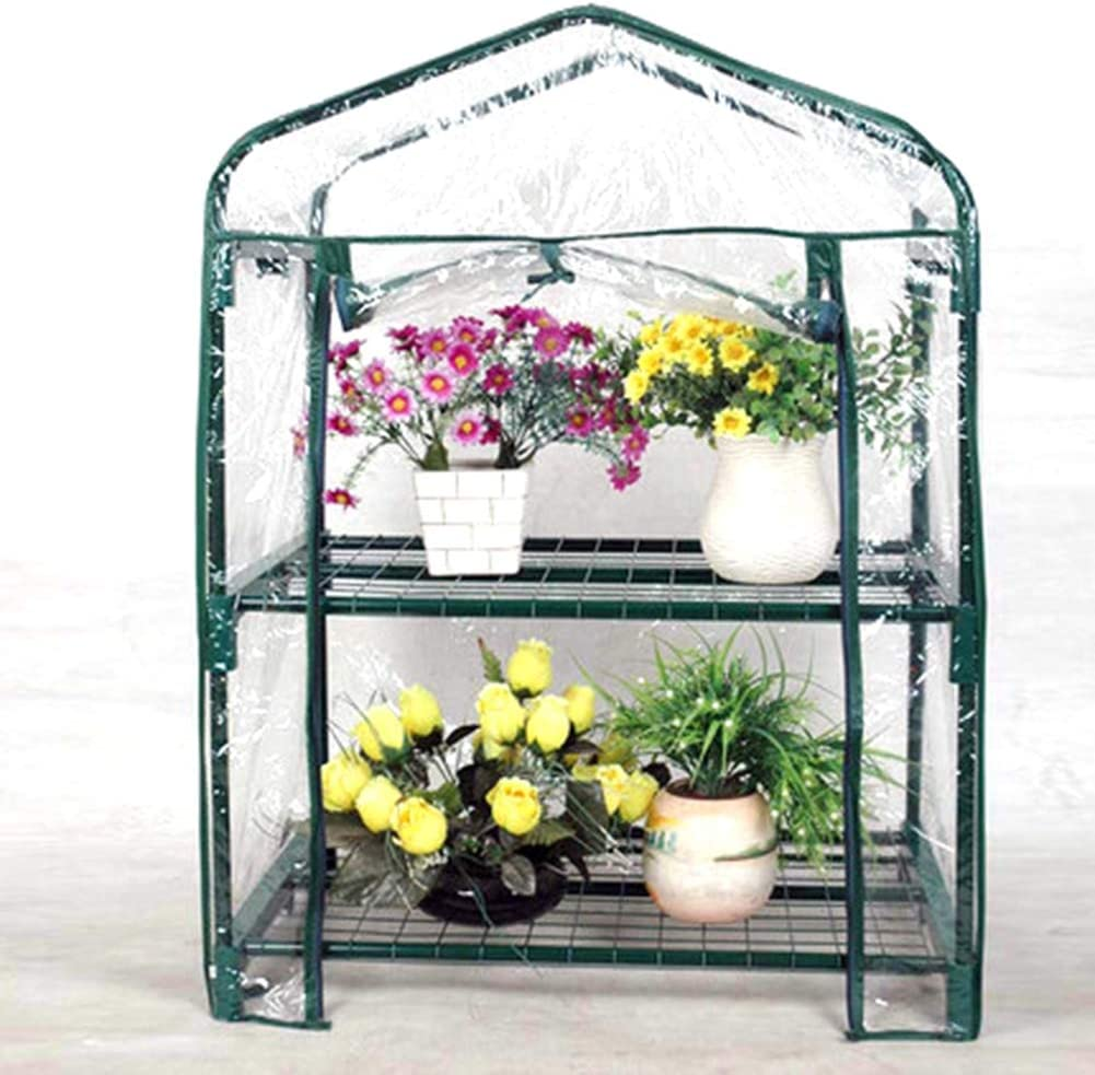 VKTY 3-Tier Plant Greenhouse Cover Clear Plastic Mini Greenhouse Replacement Cover Pvc Plant Greenhouse Cover Fit For 3-Tier Frame Outdoor Plant Flower Garden Accessories