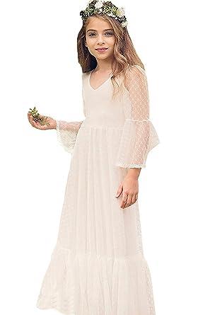 ee9f58c41d92b Robe de Fille Enfant de Mariage d Honneur Soirée Princesse Noble Col Cœur  Longue en