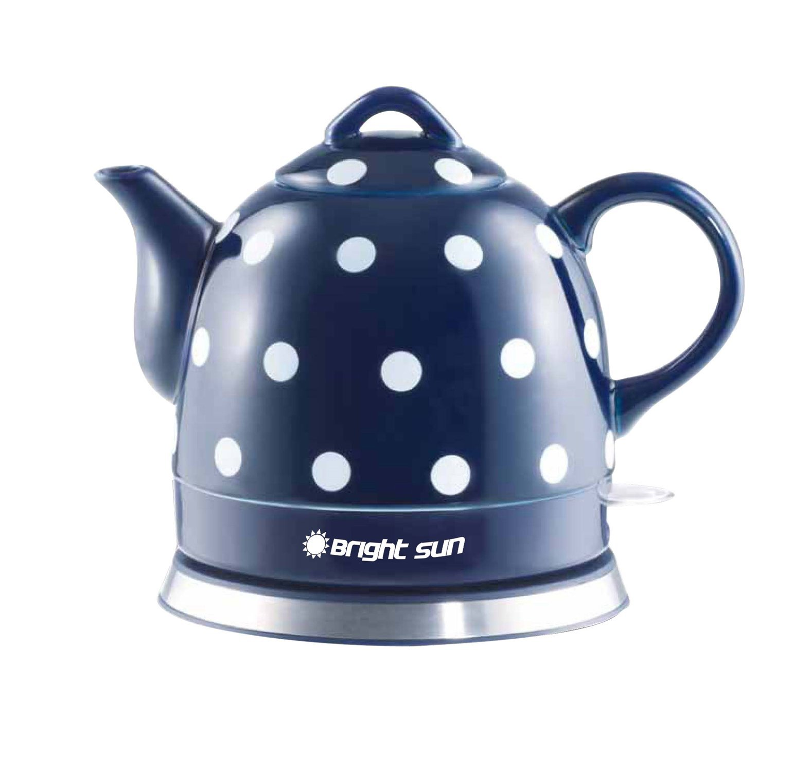 FixtureDisplays Ceramic Electric Kettle with Polka Dots Blue White 13582 13582!