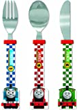 Thomas & Friends Racing Train Shaped Cutlery Set, Plastic, Multi-Colour, Set of 3