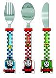 Thomas & Friends Racing Train Shaped Cutlery Set, Plastic, Multi-Colour, Set of 3