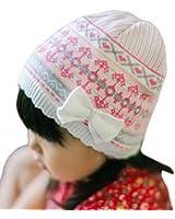 Bigood Bonnet Fille Coton Tricot Chapeau Princesse Nœud Papillon