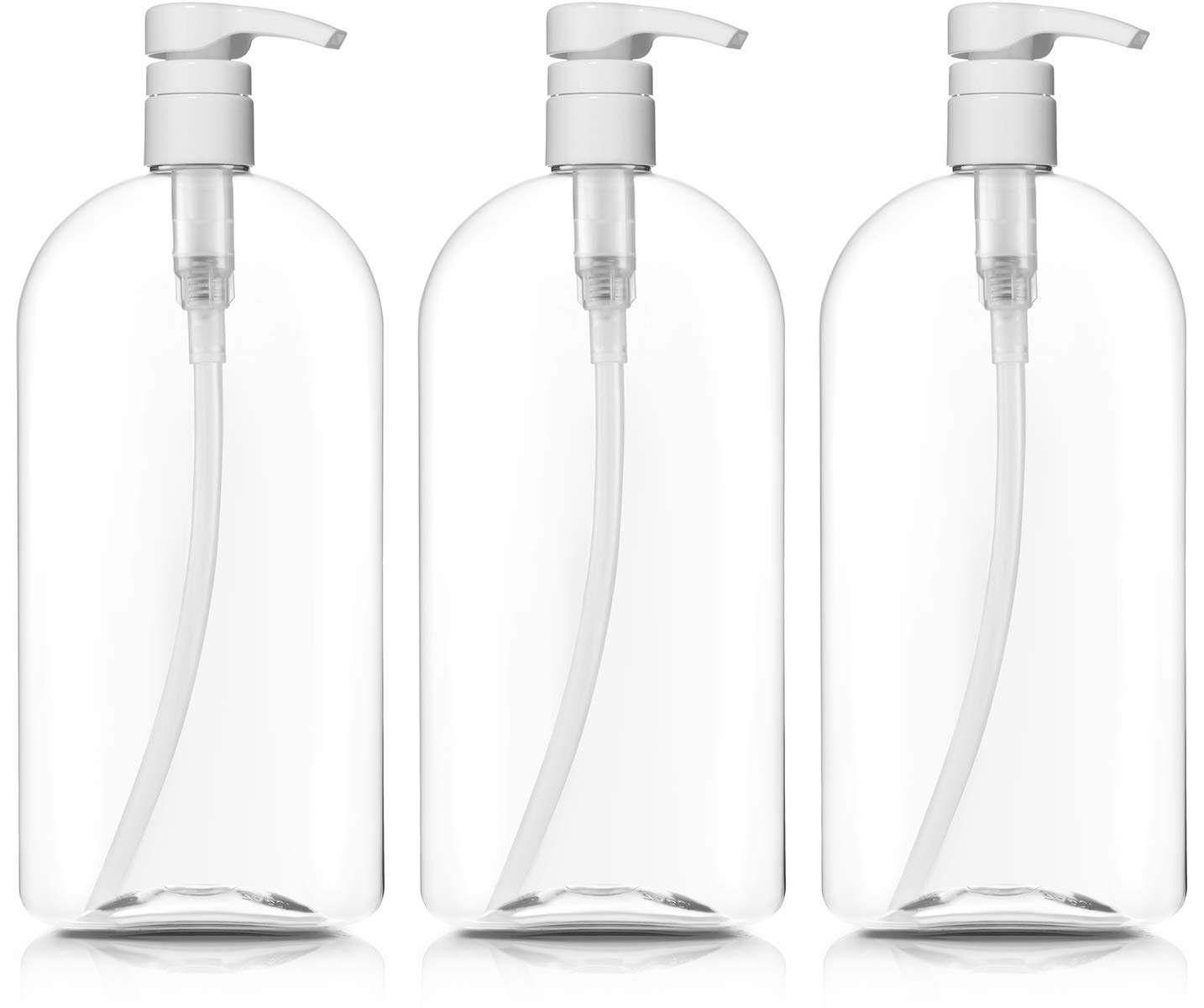 Empty Shampoo Bottles with Pumps, 32oz/1Liter/Large, BPA-FREE, Lightweight(Medium Density PETE1 Plastic) Pack of 3