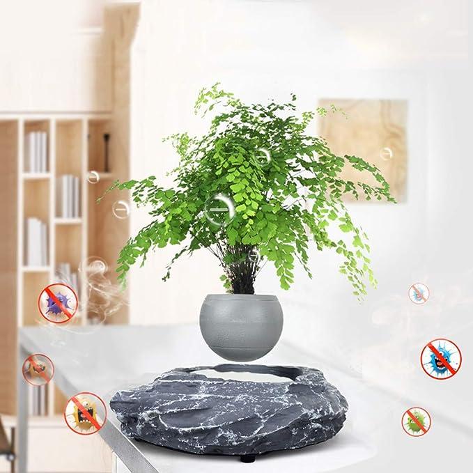 Magnetic Suspension Levitating Air Flower Pots Home Office Decorations Fun Gift,Gray-Trumpet Garden Pots,Floating Bonsai Pot Creative Design Levitation Bonsai