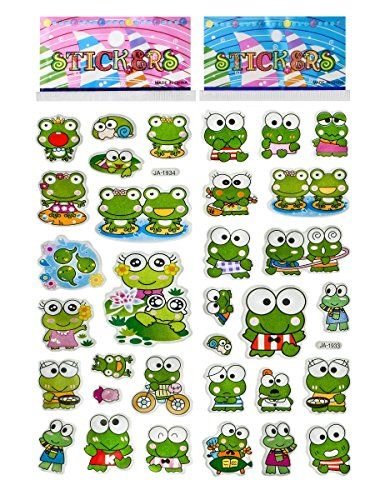 6 Sheets Puffy Dimensional Scrapbooking Party Favor Stickers + 18 FREE Scratch and Sniff Stickers - FROG