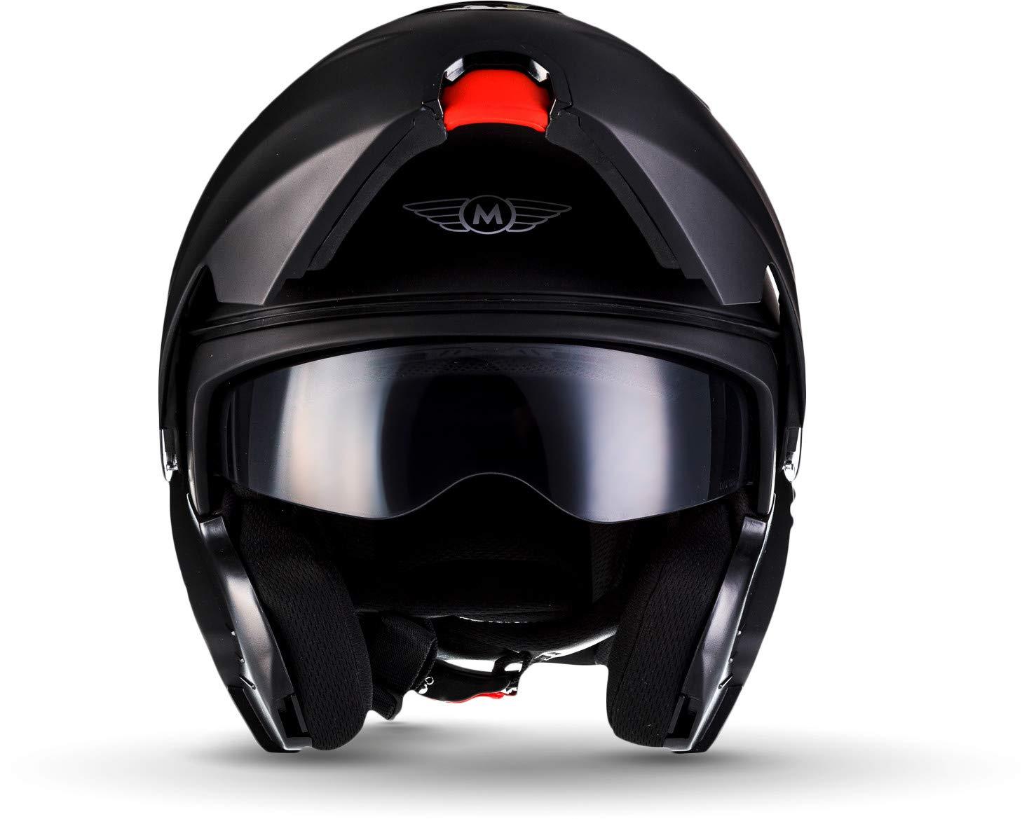 MOTO F19 Matt Black /· Scooter-Helmet Cruiser Moto-Helmet Street Flip-Up Helmet Full-Face Helmet Modular-Helmet Motorcycle-Helmet Scooter-Helmet /· ECE certified /· incl two Visors /· incl 57-5 Cloth Bag /· Black /· M