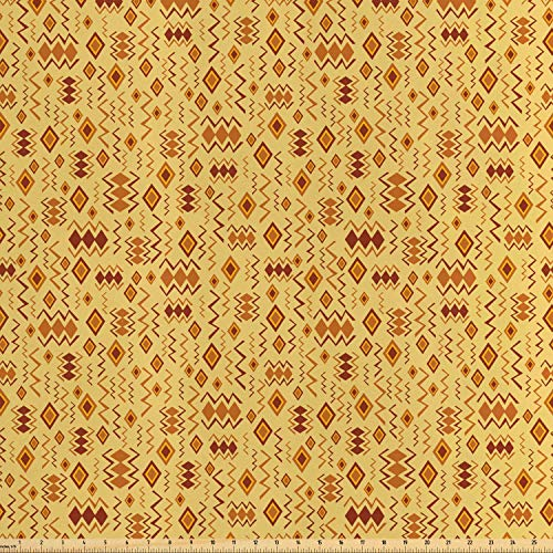 Ambesonne African Fabric by The Yard, Random Doodles Pattern Herringbone Indigenous Art Folk Features, Decorative Satin Fabric for Home Textiles and Crafts, Brown Marigold Mustard from Ambesonne