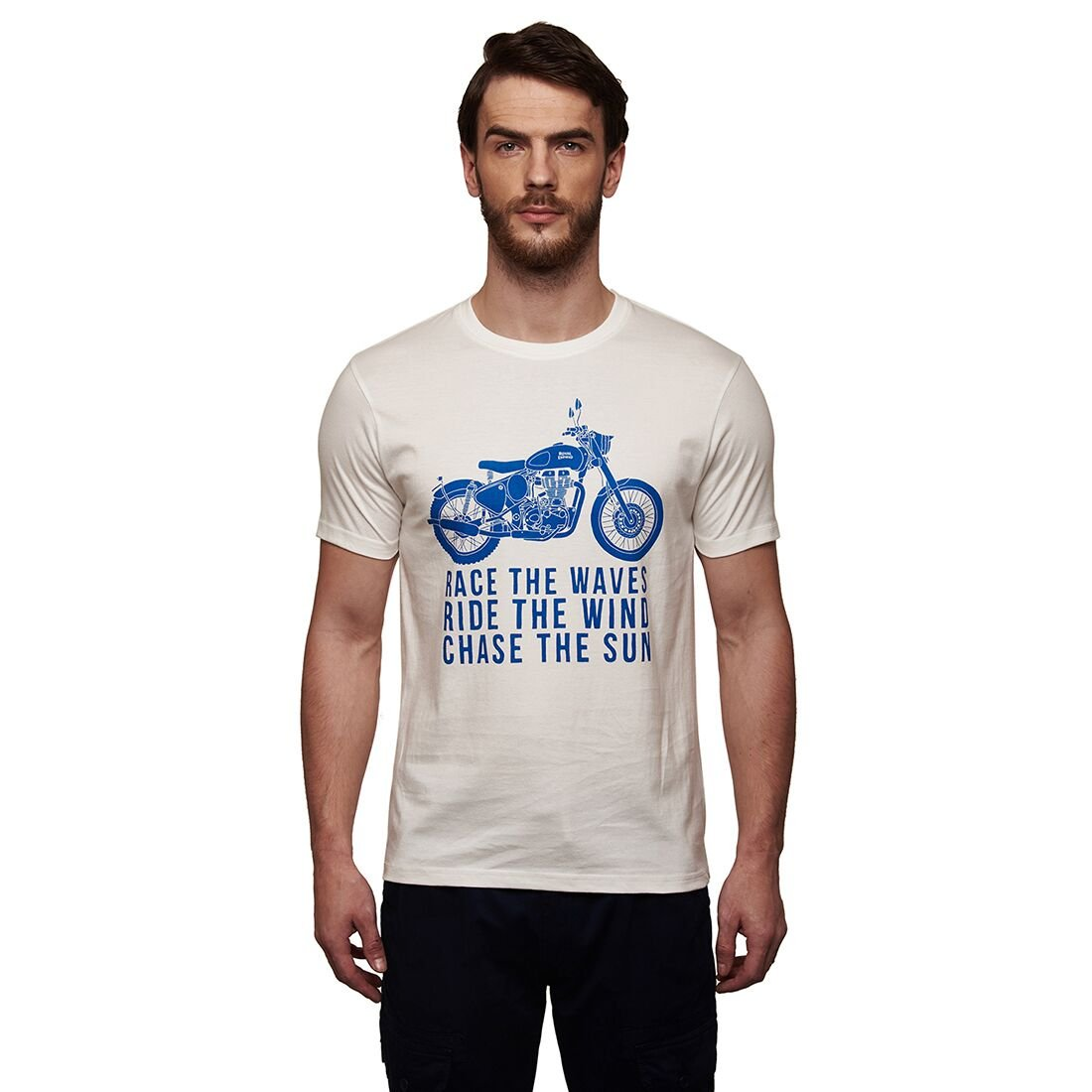 047ad0886c Royal Enfield Race The Waves TSSS17012 T-Shirt (Off White