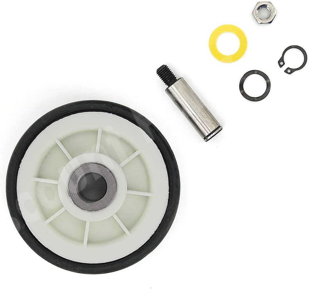 303373K Dryer Roller Wheel Drum Support Kit Including Dryer Drum Support Roller and Axle Replaces 303373, 12001541, ER303373K, 303373K (1)