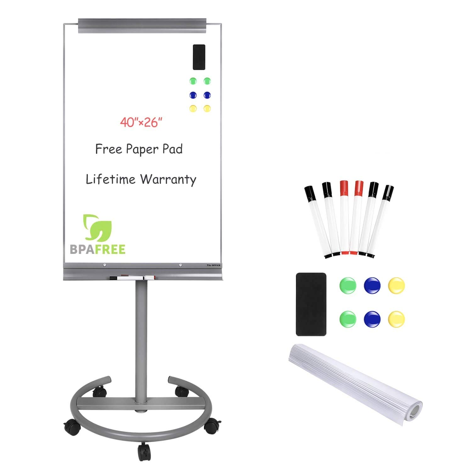 Magnetic Mobile Standing Whiteboard - 40 x 26 Inches Dry Erase White Board Tripod Whiteboard with Stand Flipchart Easel Height Adjustable by TSJ Office