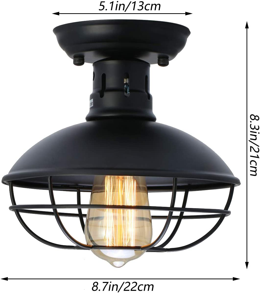LMSOD Industrial Vintage Metal Black Ceiling Light, Creative Retro Pendant Lights 1 Light Fixture Semi Flush Mount Pendant Lamp